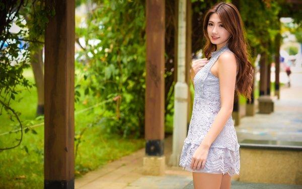 Women Asian Woman Model Brunette Depth Of Field Smile Dress Long Hair HD Wallpaper | Background Image