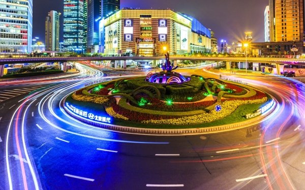 Photography Time-lapse Night Light Road City Shanghai China HD Wallpaper | Background Image