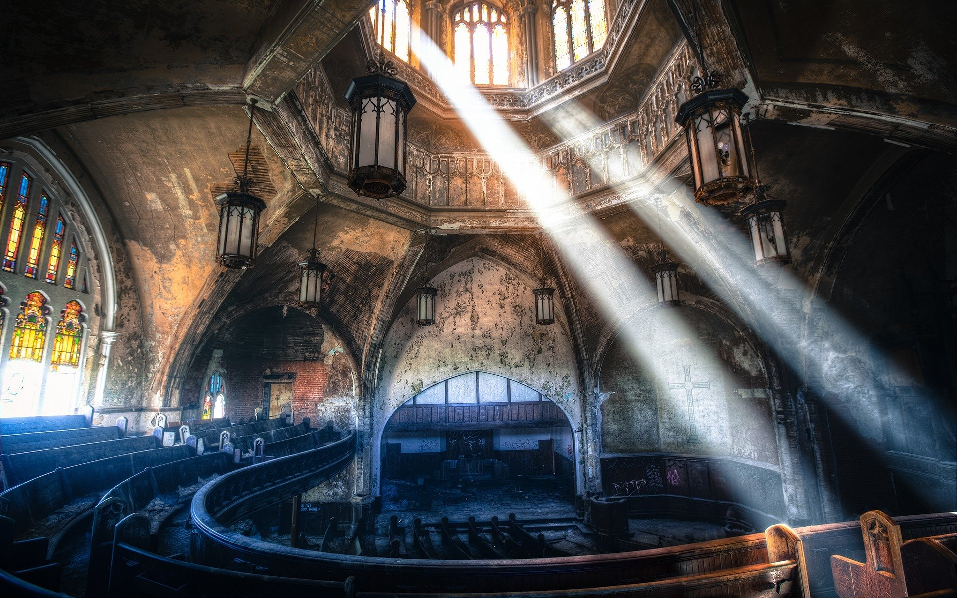 Religious - Church  Sunbeam Theatre Ancient Abandoned Architecture Stained Glass Ruin Wallpaper