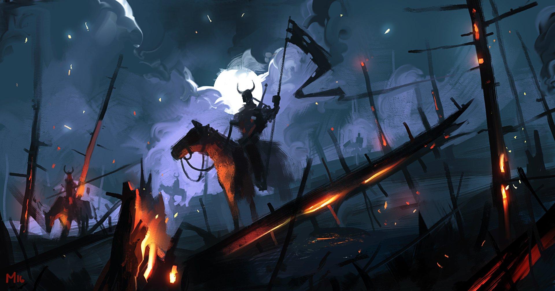 Fantasy - Warrior  Night Moon Banner Horse Wallpaper