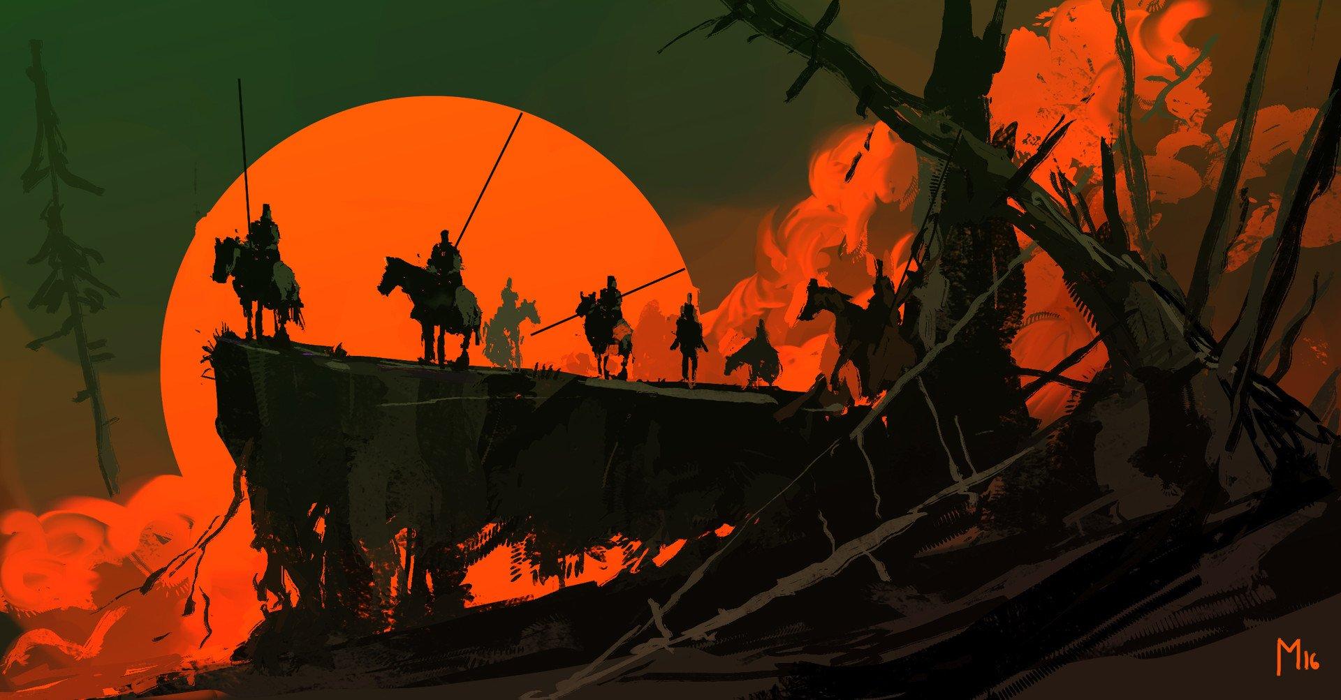 Fantasy - Warrior  Moon Night Horse Wallpaper