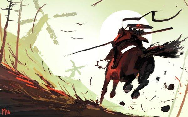 Fantaisie Guerrier(ère) Soleil Moulin à Vent Cheval Spear Fond d'écran HD | Image