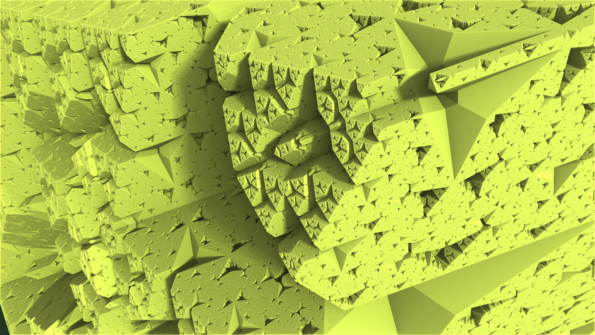 Abstract - Fractal  Mandelbulber 3D Geometry Triangle Green Artistic Digital Art Abstract Wallpaper