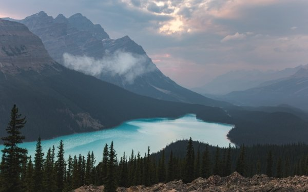 Earth Lake Lakes Nature Canada Banff National Park Forest Landscape Mountain HD Wallpaper | Background Image