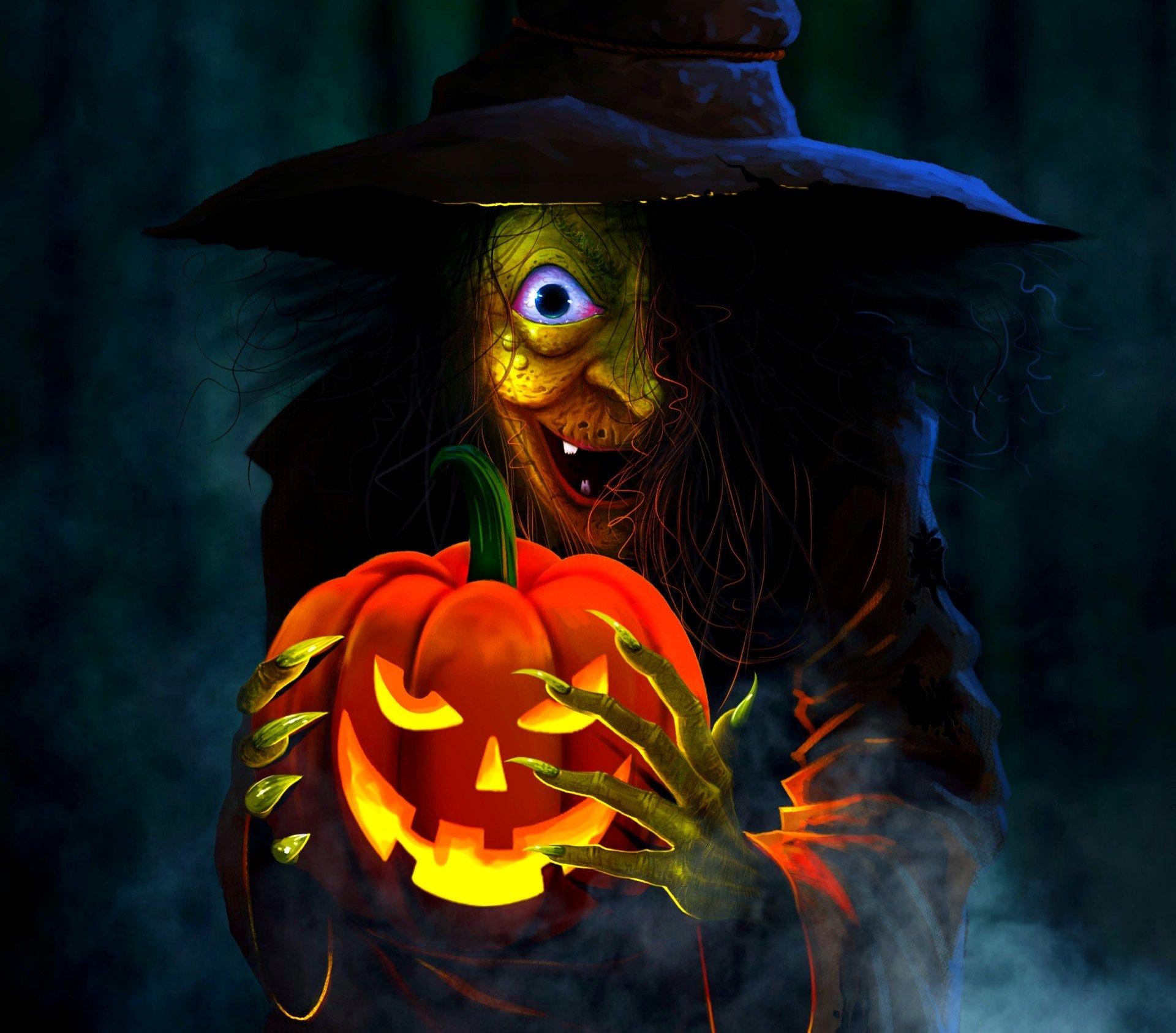 节日 - 万圣节  节日 女巫 Jack-o'-lantern 壁纸