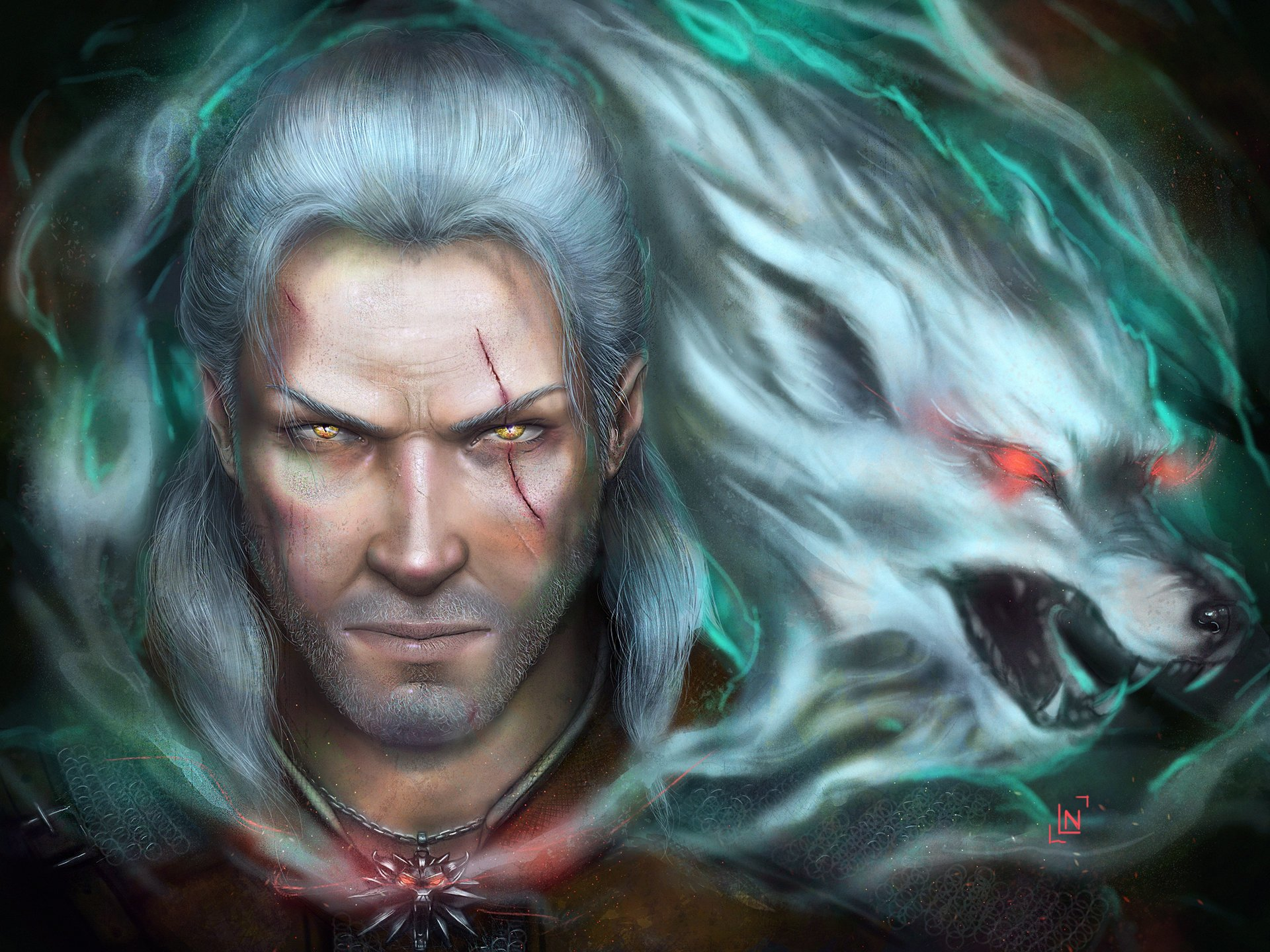 Video Game - The Witcher  Geralt of Rivia Wolf Spirit White Hair Face Warrior Yellow Eyes Scar Wallpaper