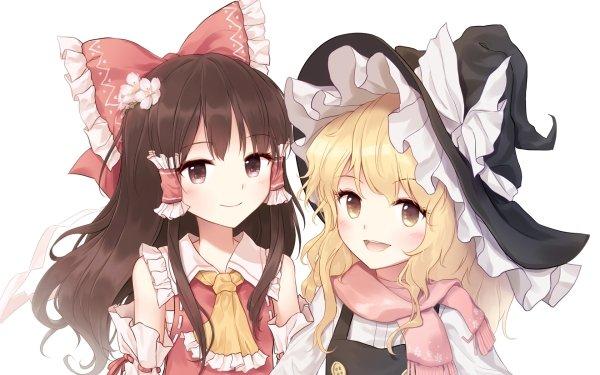 Anime Touhou Marisa Kirisame Reimu Hakurei HD Wallpaper | Background Image