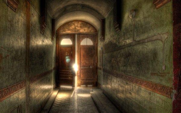 Man Made Hallway Door Light HDR HD Wallpaper   Background Image