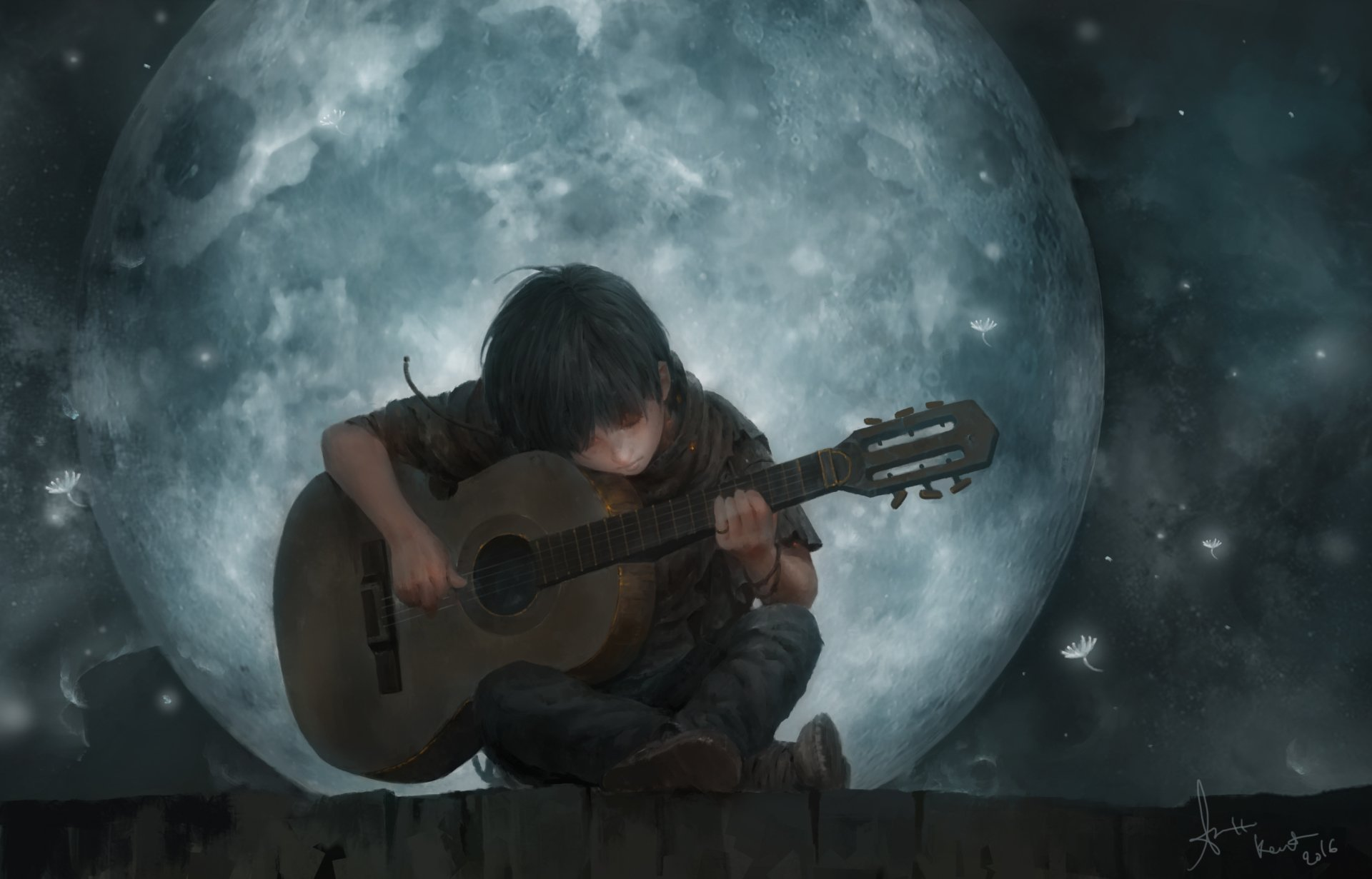 Artistic - Child  Artistic Boy Little Boy Moon Night Guitar Wallpaper