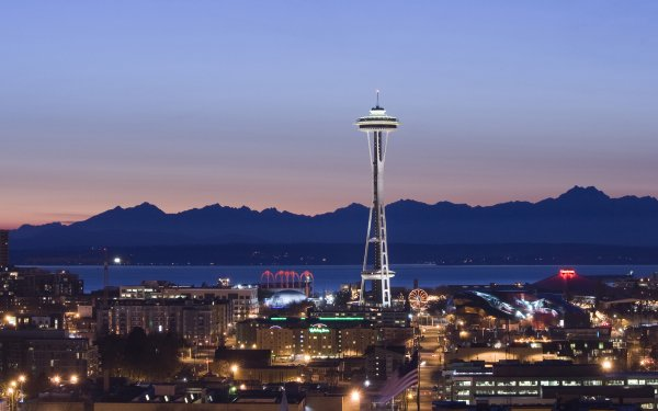 Man Made Seattle Cities United States Sky Building City Light USA Mountain Space Needle HD Wallpaper | Background Image