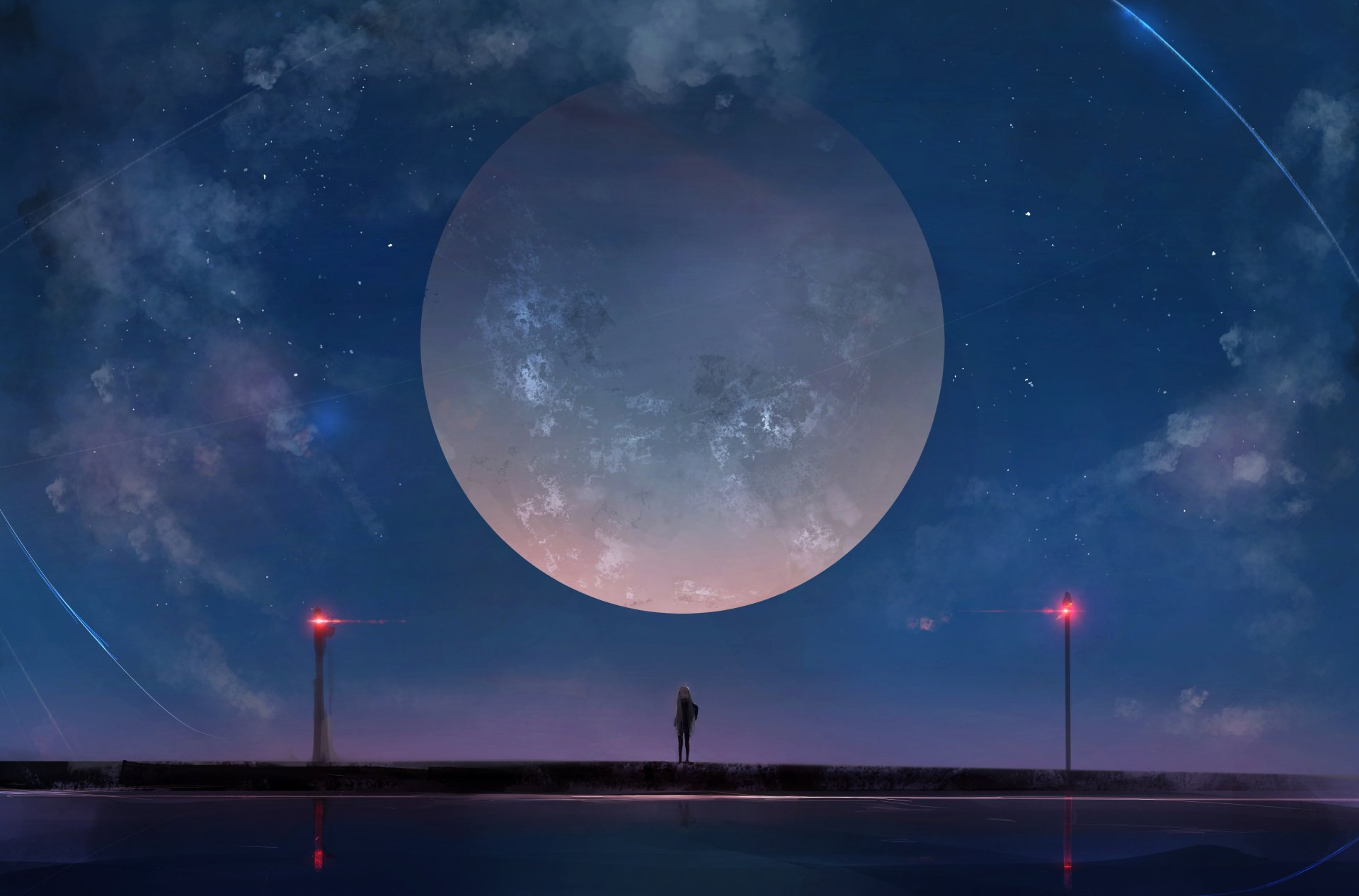 Anime - Original  Moon Lamp Post Night Stars Sky Wallpaper