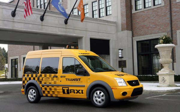 Vehicles Ford Transit Connect Ford Taxi Van Yellow Car HD Wallpaper | Background Image