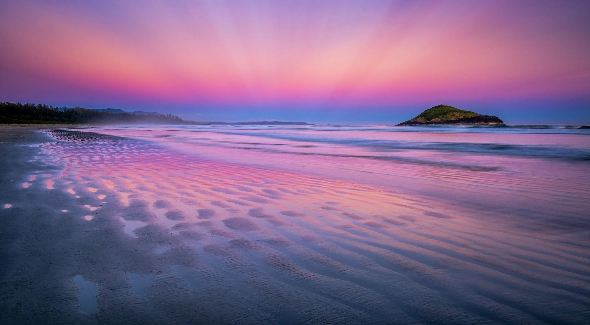 Pink Beach Sunset Wallpaper: Beach Sunset HD Wallpaper