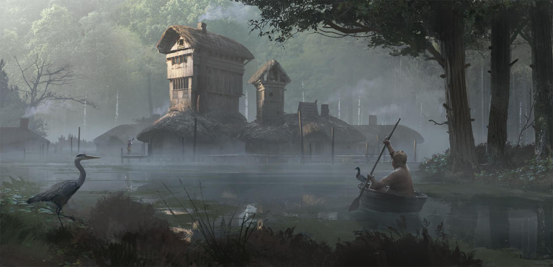 Fantasy - Landscape  Dark River House Tree Fog Heron Wallpaper