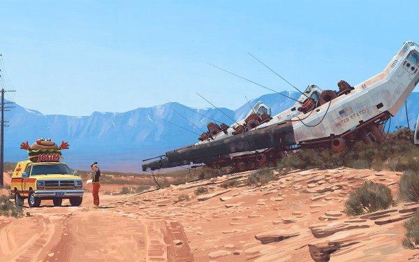 Sci Fi Landscape Vehicle Desert Car HD Wallpaper | Background Image