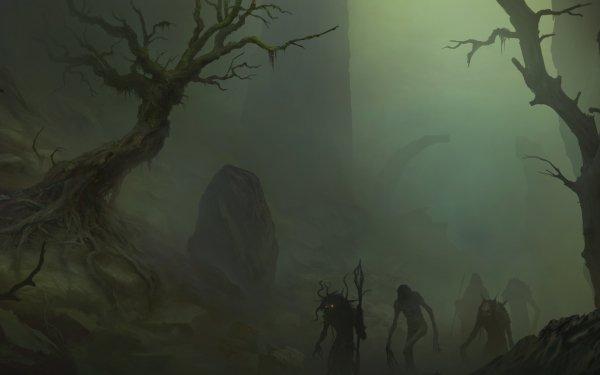 Dark Creepy Tree Fog Undead HD Wallpaper   Background Image