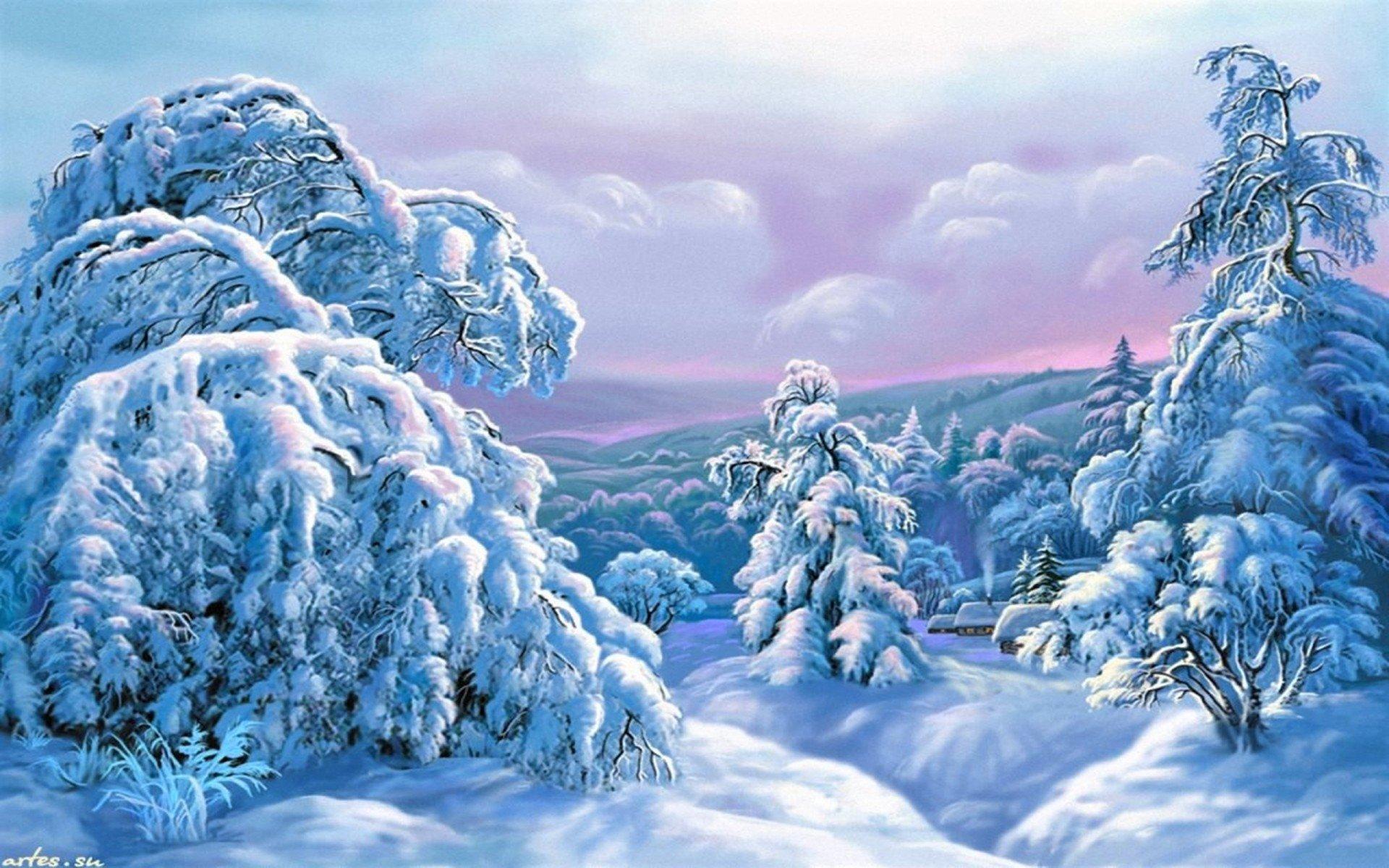 艺术 - 冬季  艺术 绘画 风景 森林 树 Snow 壁纸