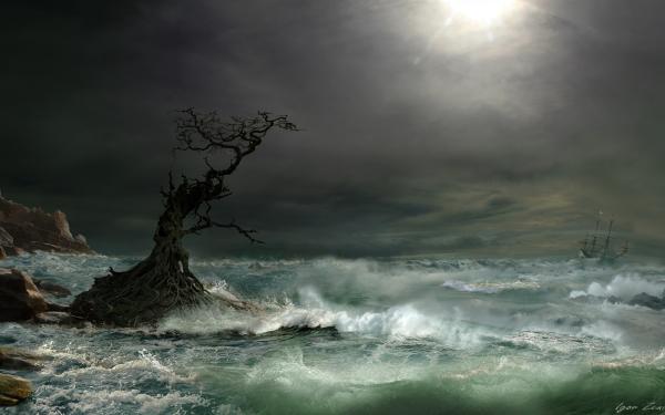 Artistique Peinture Océan Sea Tempête Bateau Voilier Arbre Nuage Arbre tordu Fond d'écran HD | Image