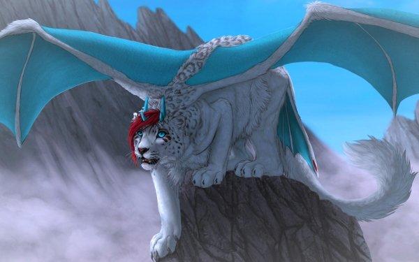 Fantasy Animal Fantasy Animals Snow Leopard Wings HD Wallpaper   Background Image