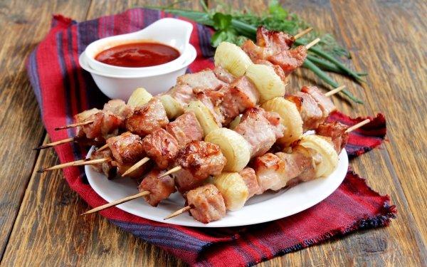 Food Barbecue Meat Ketchup Kebab HD Wallpaper | Background Image