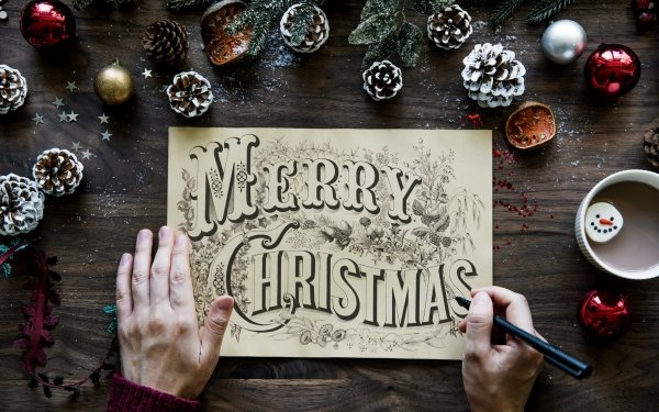 Holiday Christmas Merry Christmas Hand Drawing Pine Cone HD Wallpaper   Background Image