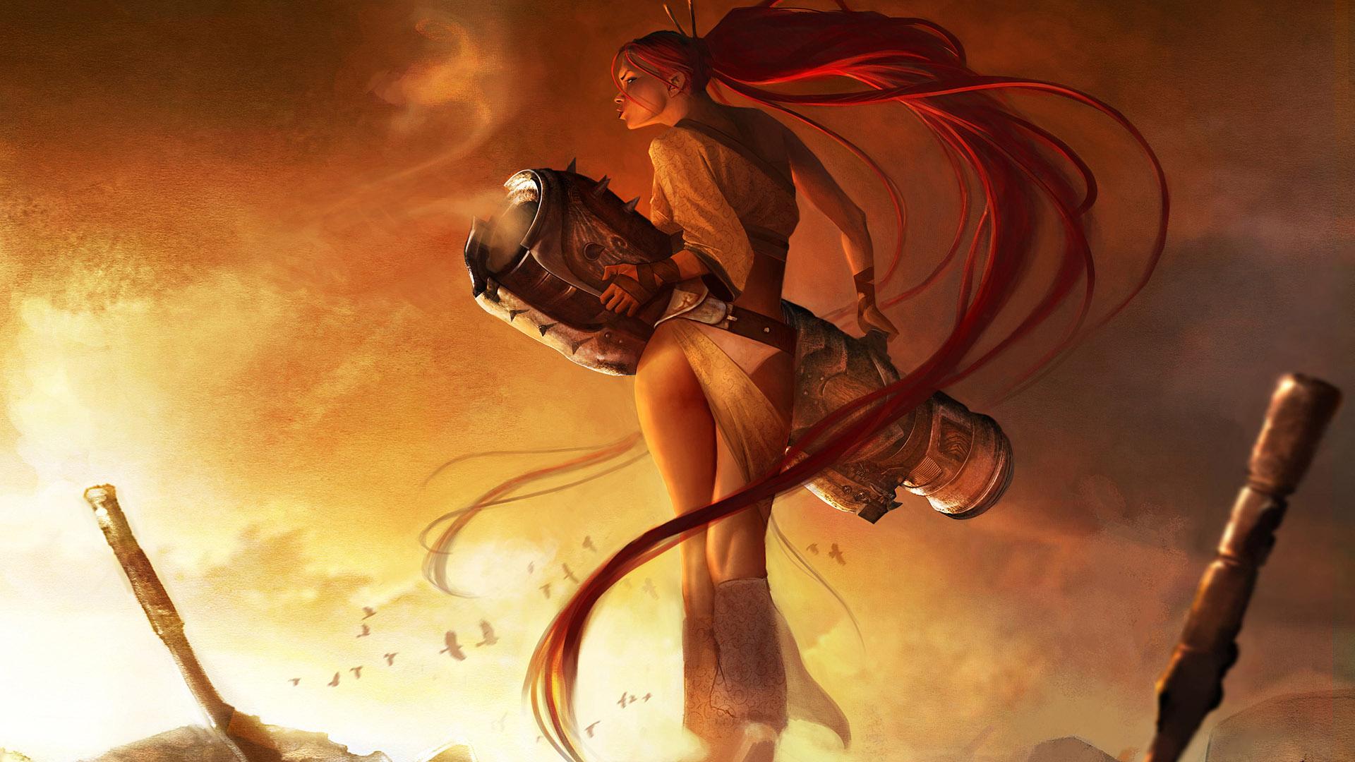 Video Game - Heavenly Sword  Beautiful Warrior CGI Game Ps3 Hair Smoke Blonde Wallpaper
