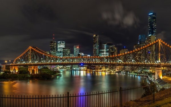 Man Made Brisbane Cities Australia Light Night Bridge Building Skyscraper Story Bridge HD Wallpaper | Background Image