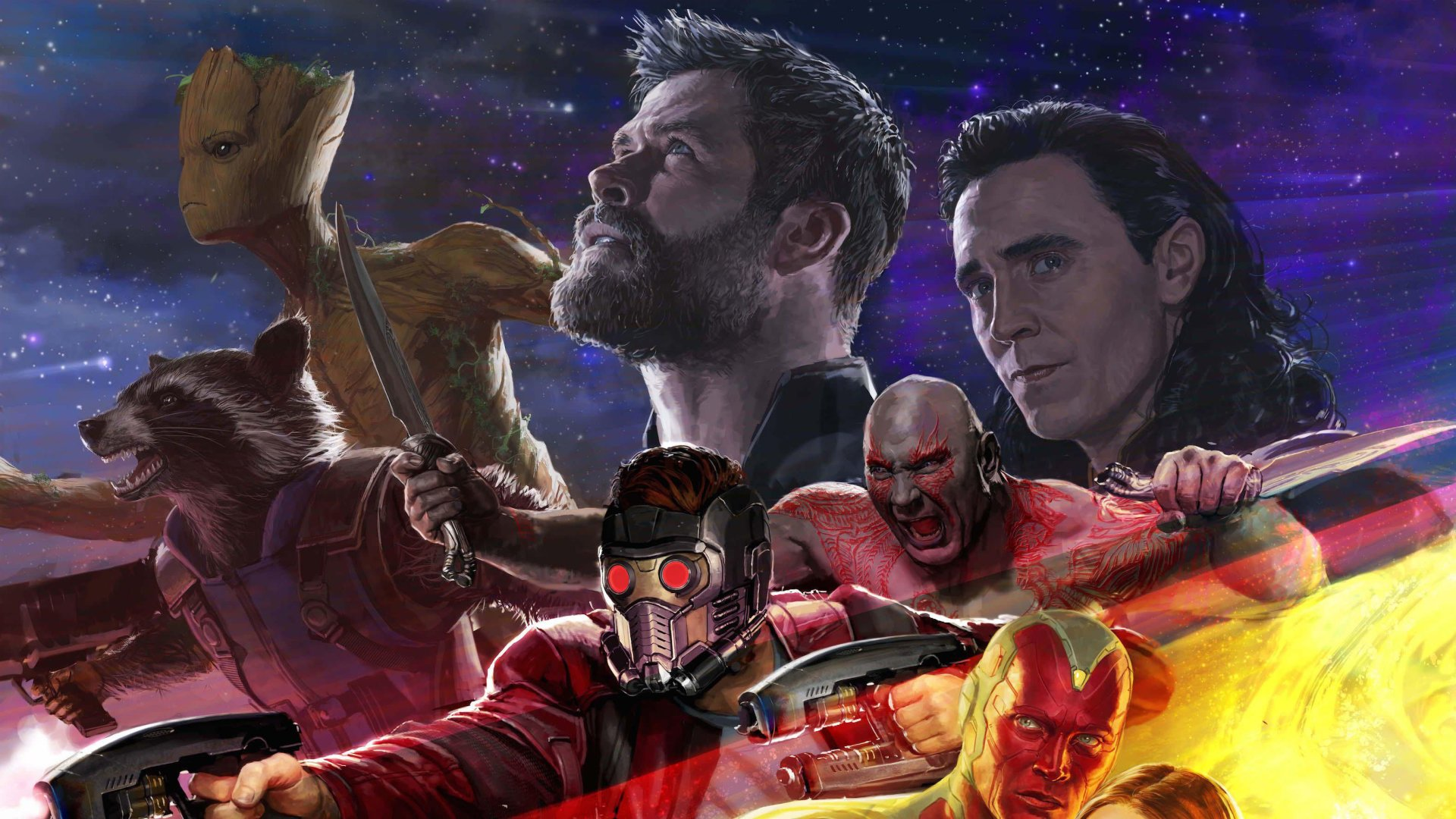 Movie - Avengers: Infinity War  Loki Tom Hiddleston Thor Chris Hemsworth Groot Vin Diesel Rocket Raccoon Bradley Cooper Star Lord Peter Quill Chris Pratt Drax The Destroyer Dave Bautista Vision (Marvel Comics) Paul Bettany Wallpaper