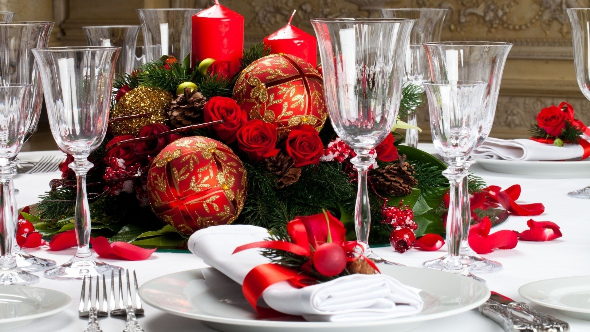 Holiday - Christmas  Decoration Candle Glass Wallpaper