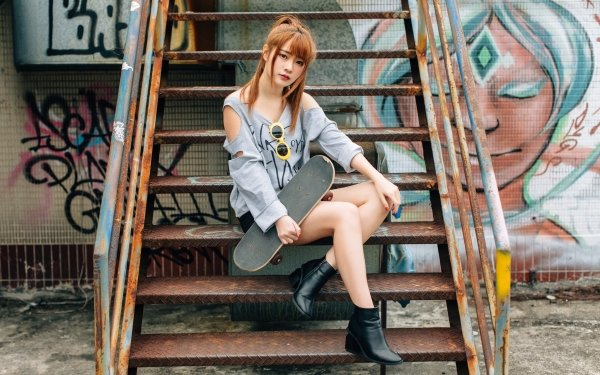 Women Asian Model Boots Skateboard Sunglasses Brunette Graffiti HD Wallpaper   Background Image