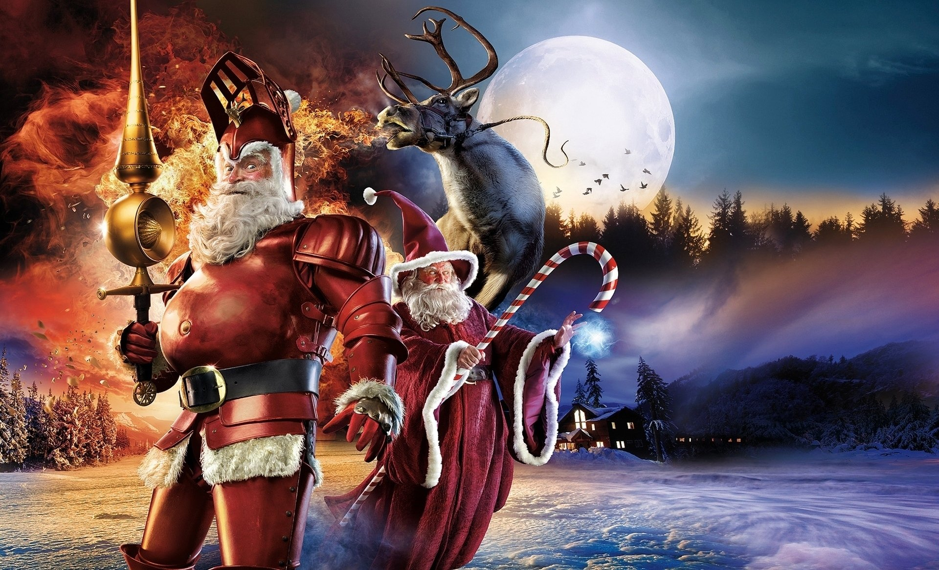 Humor - Christmas  Santa Claus Wizard Moon Fantasy Reindeer Wallpaper