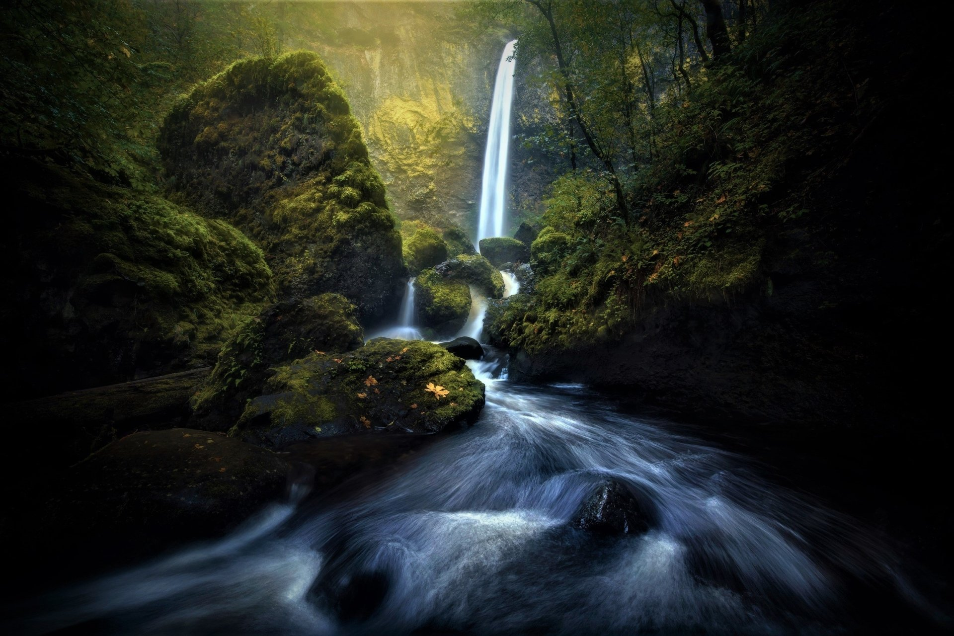 Earth - Waterfall  Green Earth Moss Rock River Wallpaper