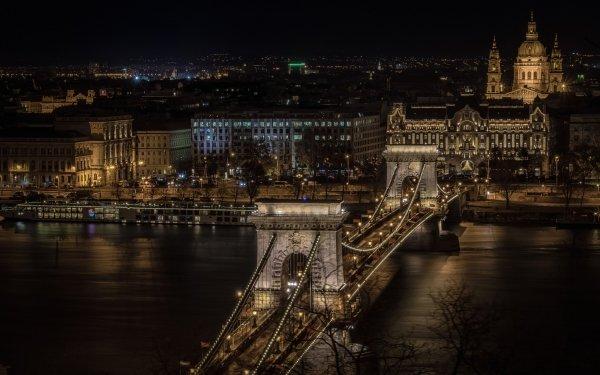 Man Made Chain Bridge Bridges River Danube Budapest Night Hungary City Bridge HD Wallpaper | Background Image