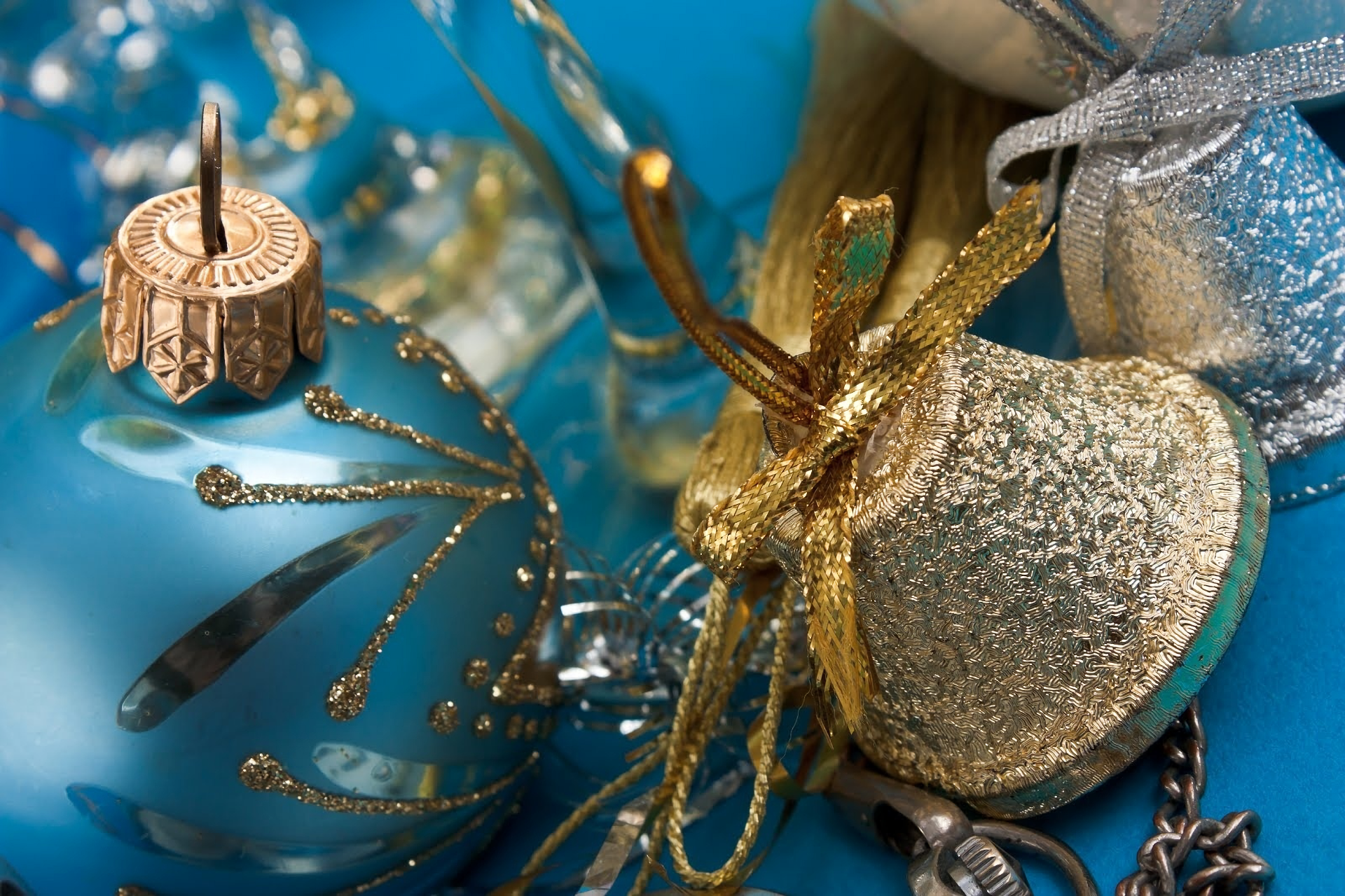 Holiday - Christmas  Decoration Blue Bell Bauble Wallpaper