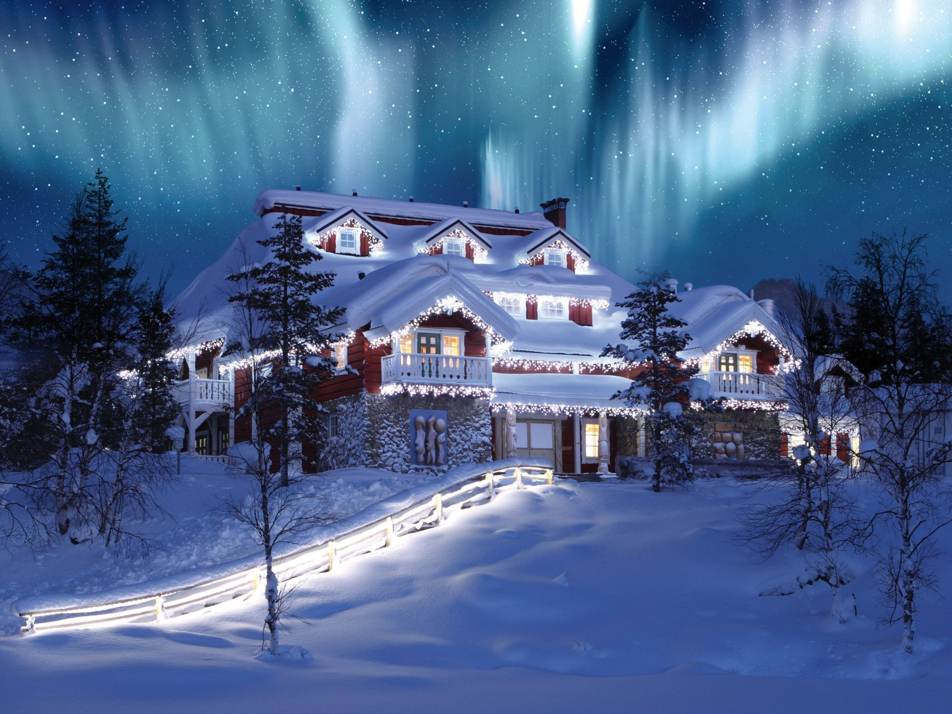 Photography - Winter  Christmas Tree Light Stars Sky House Mansion Holiday Aurora Borealis Starry Sky Wallpaper