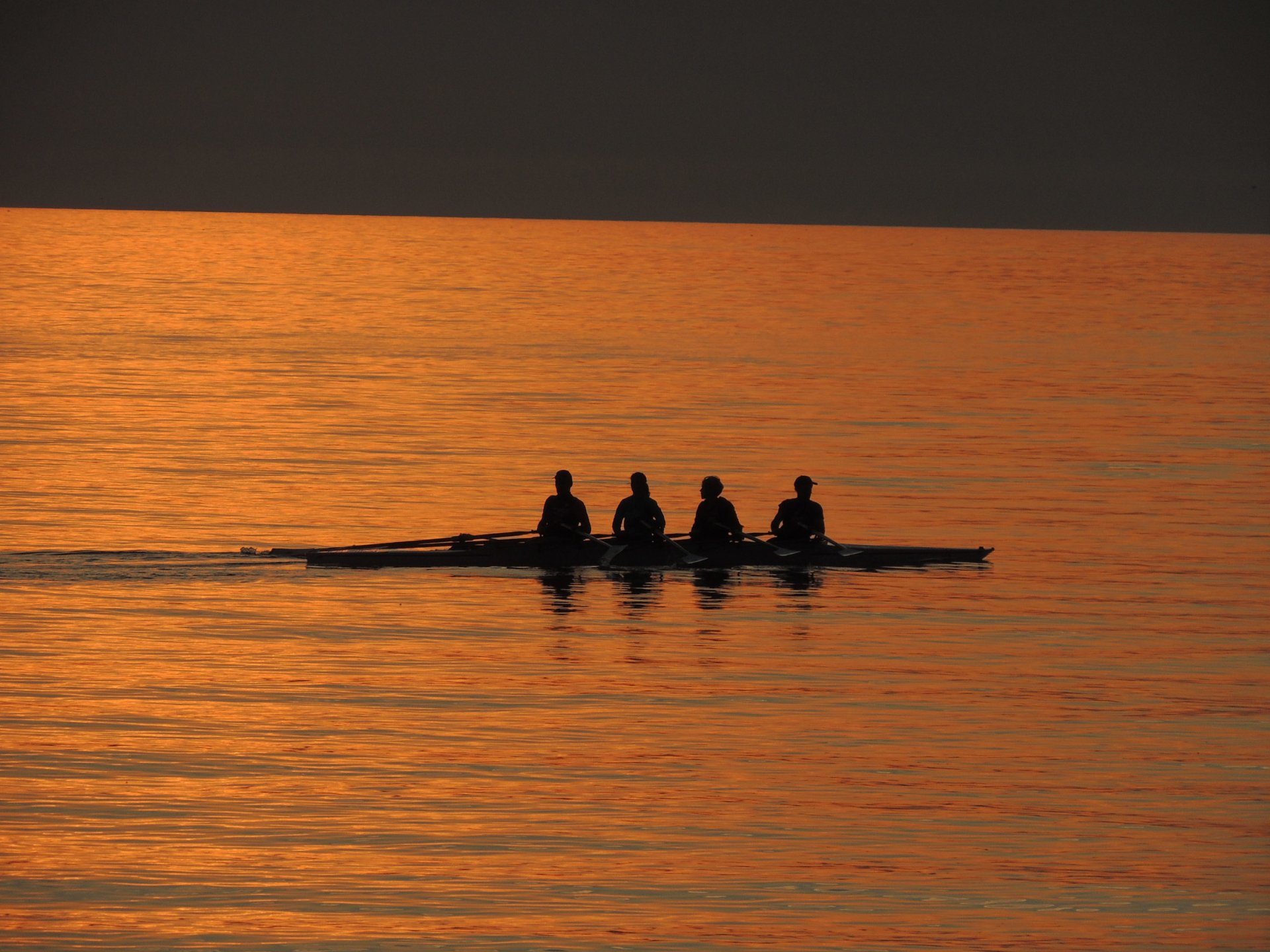 Photography - Sunset  Row Boat People Silhouette Wallpaper