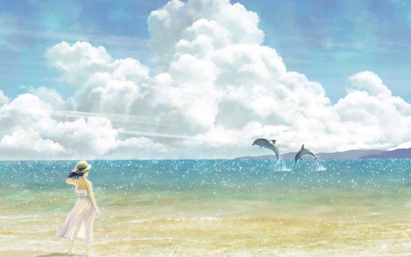 Anime Original Beach Dolphin HD Wallpaper | Background Image