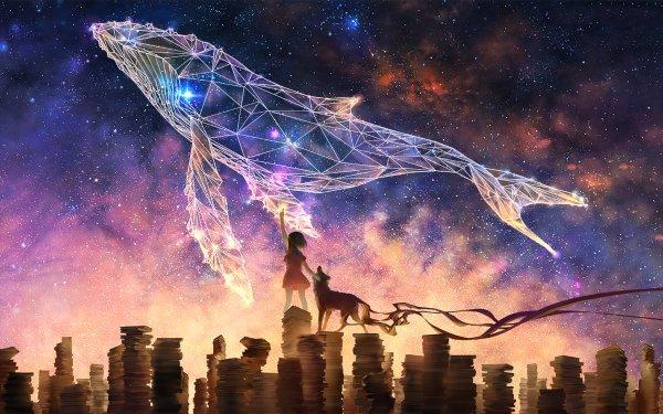 Anime Original Stars Night Whale HD Wallpaper | Background Image