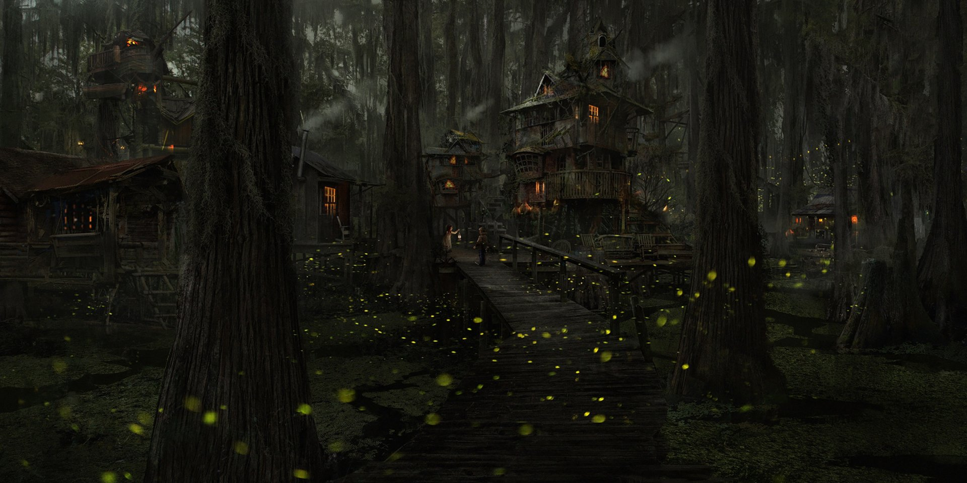 Fantasy - Forest  Building Firefly Tree Child Wallpaper
