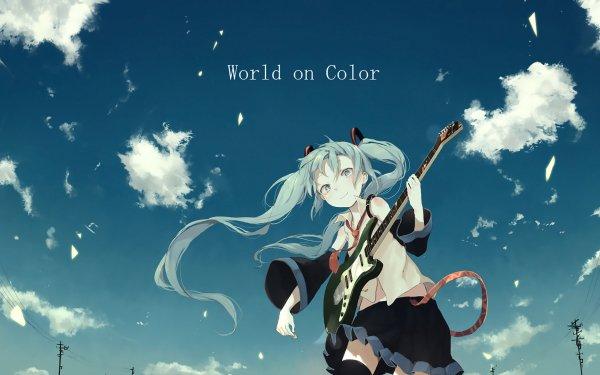 Anime Vocaloid Hatsune Miku Guitar HD Wallpaper | Background Image