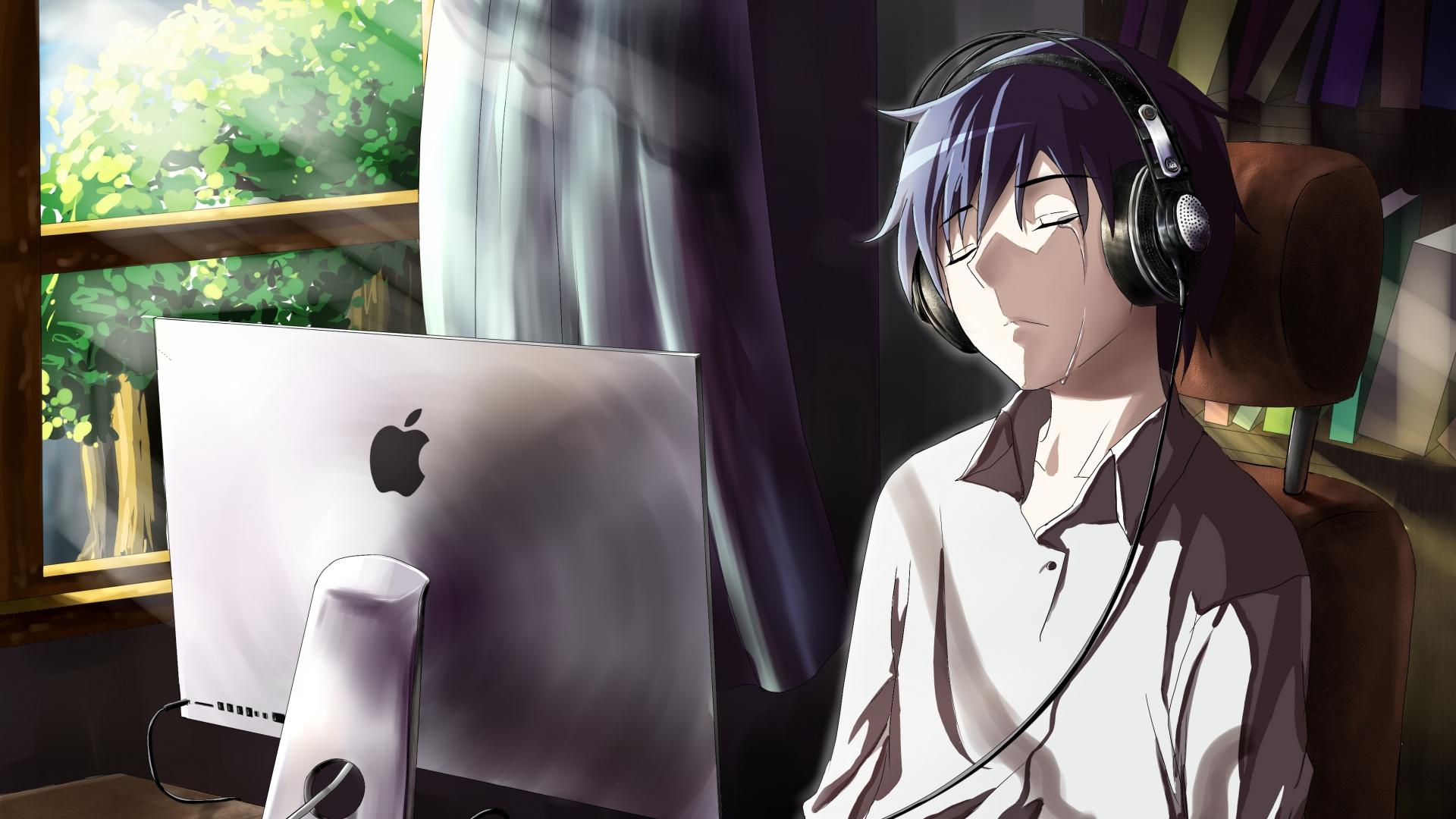 Anime Guy Crying Hd Wallpaper Hintergrund 1920x1080 Id