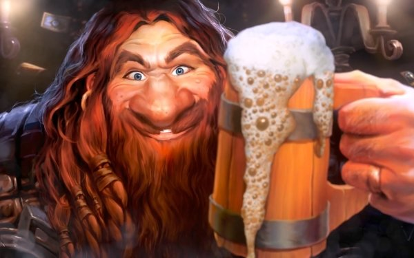 Video Game Hearthstone: Heroes of Warcraft Warcraft Face Beer Smile Blue Eyes Red Hair Dwarf HD Wallpaper | Background Image
