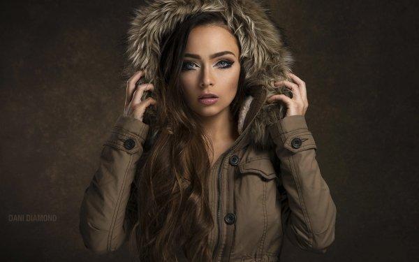 Women Model Models Woman Brunette Blue Eyes Coat Lipstick HD Wallpaper | Background Image