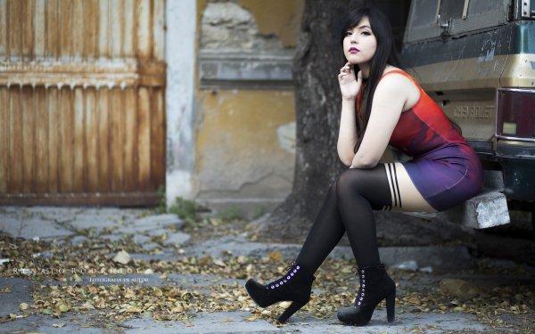 Women Judy's Lullaby Model Cosplay High Heels Dress Sitting Lipstick Black Hair Brown Eyes HD Wallpaper | Background Image