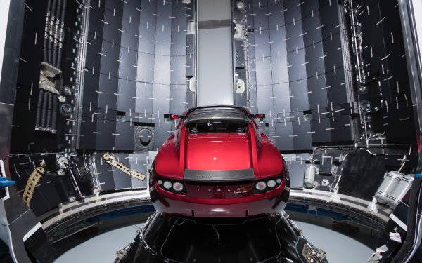 Vehicles Tesla Roadster Tesla Motors Falcon Heavy Red Car HD Wallpaper | Background Image