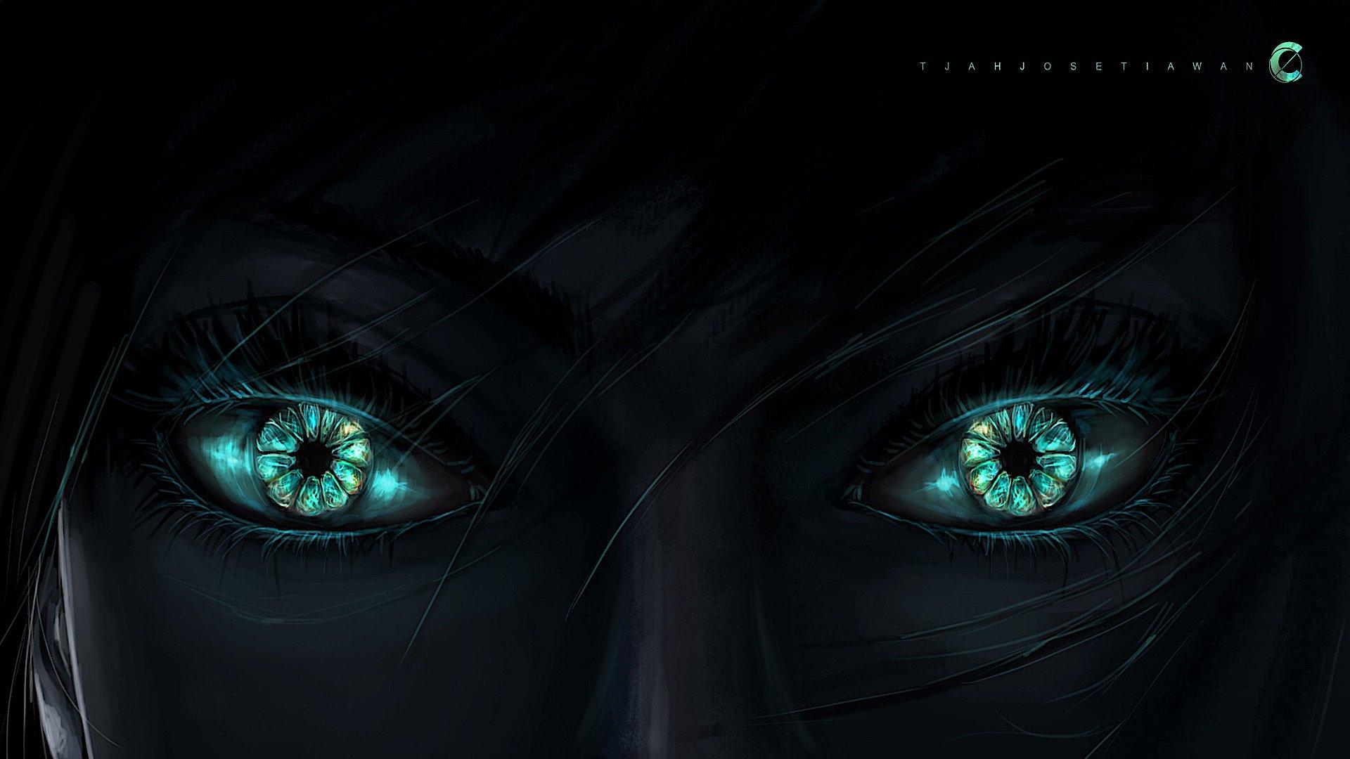 艺术 - Original  Green Eyes 艺术 黑暗 壁纸