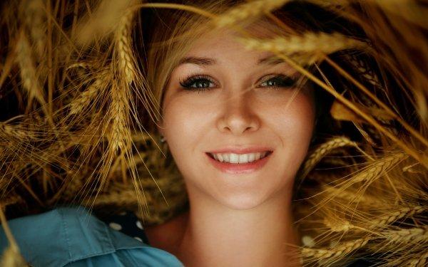 Women Face Woman Model Smile Wheat HD Wallpaper   Background Image