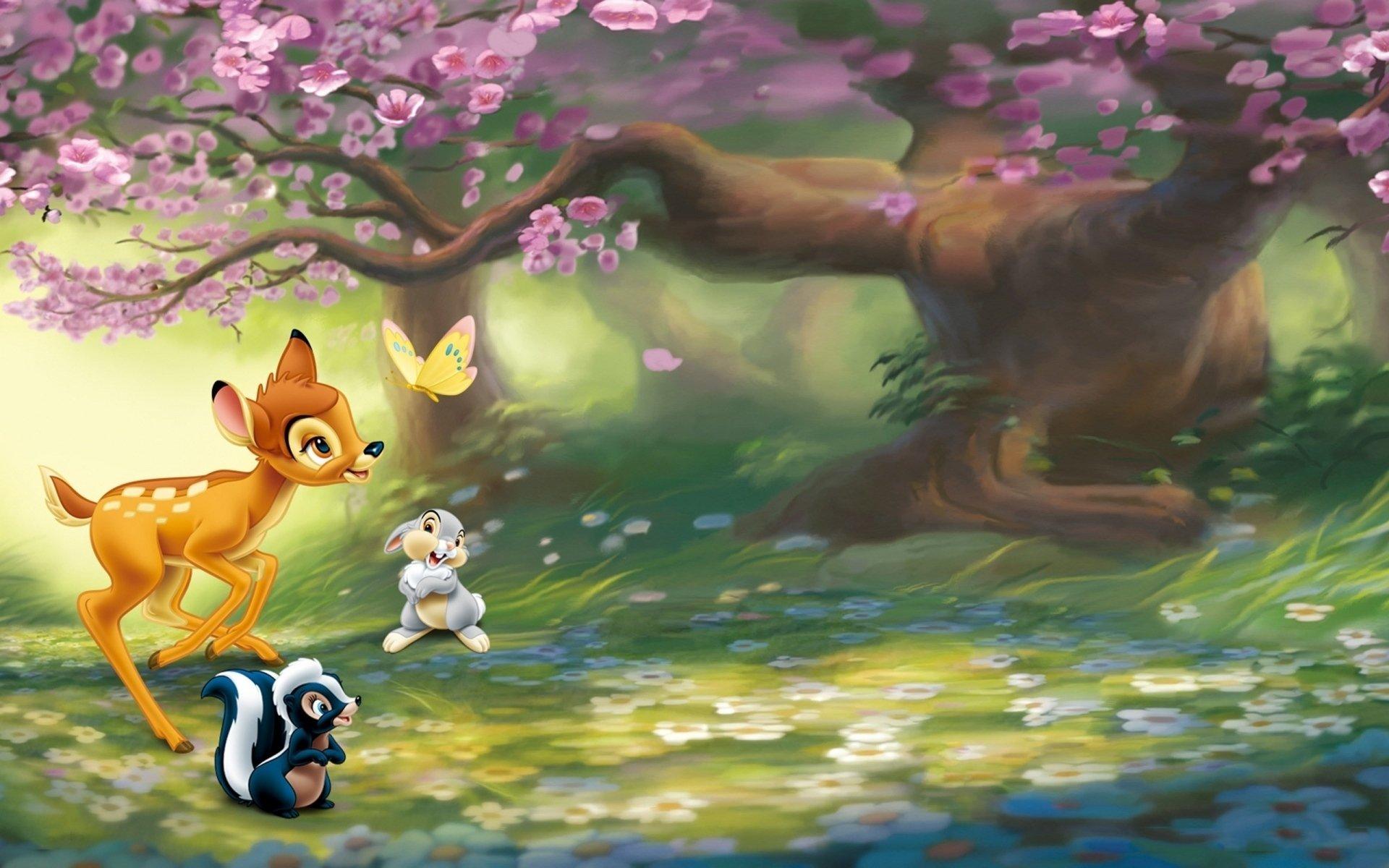 Movie - Bambi  Fawn Animal Butterfly Rabbit Tree Cherry Tree Flower Skunk Disney Wallpaper