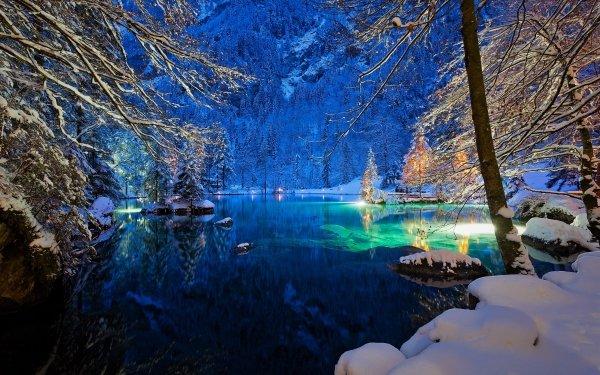Earth Lake Lakes Winter Snow Tree Switzerland Night HD Wallpaper | Background Image