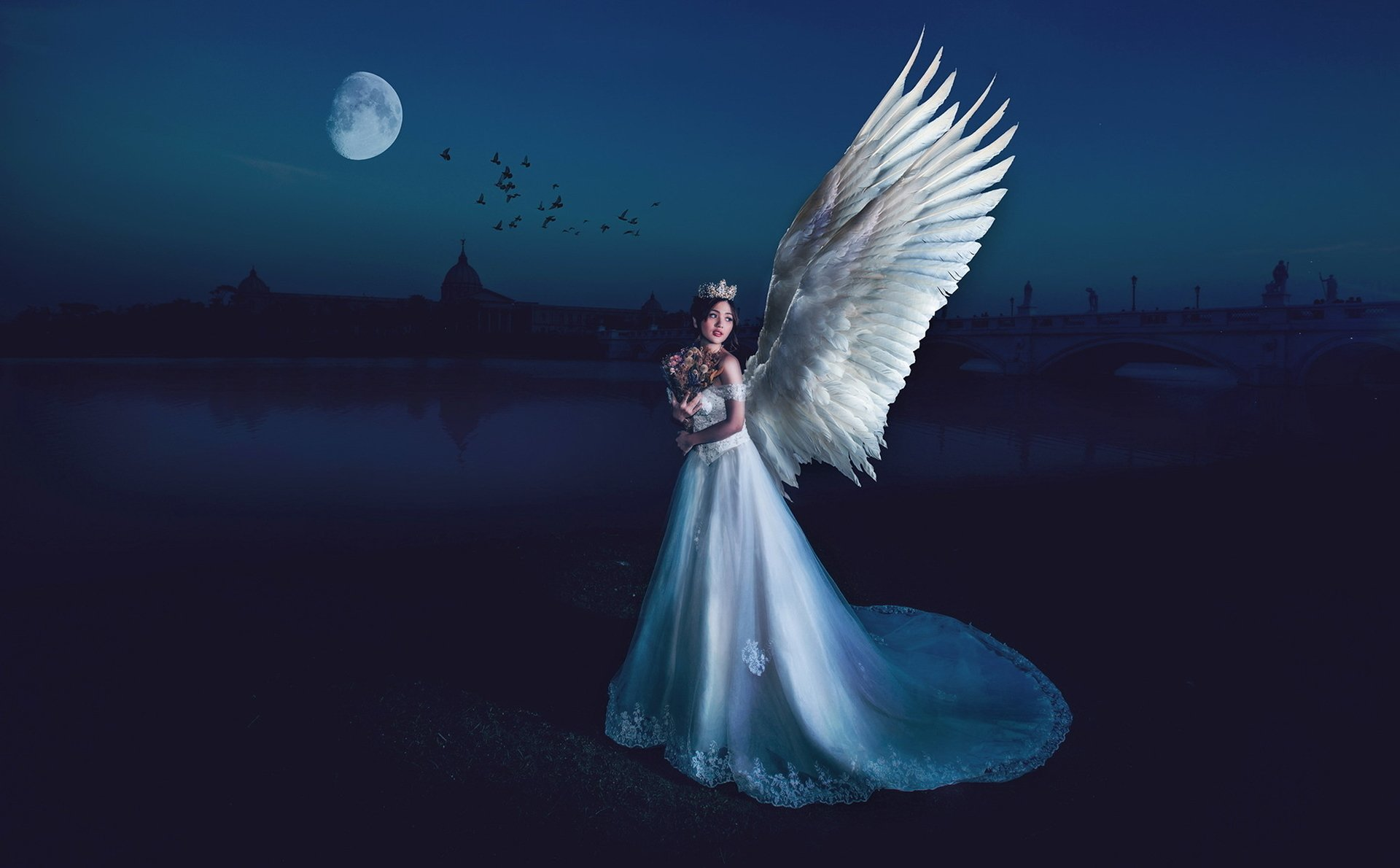 Fantasy - Angel  Asian Dress Crown Wings Woman Girl Fantasy Wallpaper